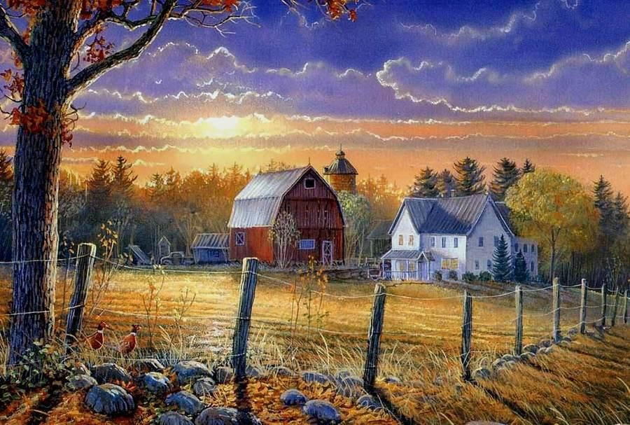 Sam Timm. Classical house and barn at sunset Farm