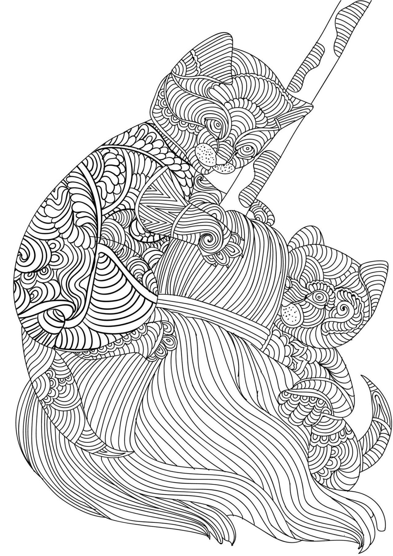 Adult Coloring Pages: Cats 3-3 | coloring pages | Pinterest ...