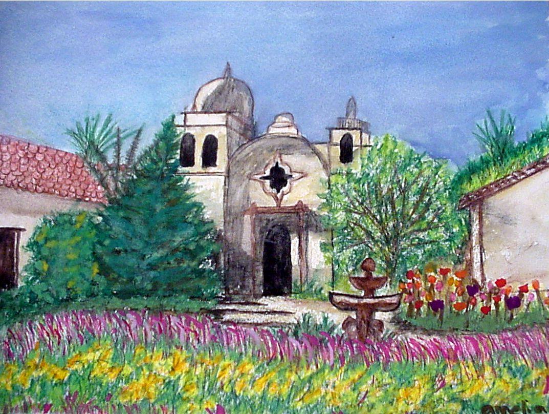 "Office Buildings ""mission style"" in San Luis Obispo..in watercolors"