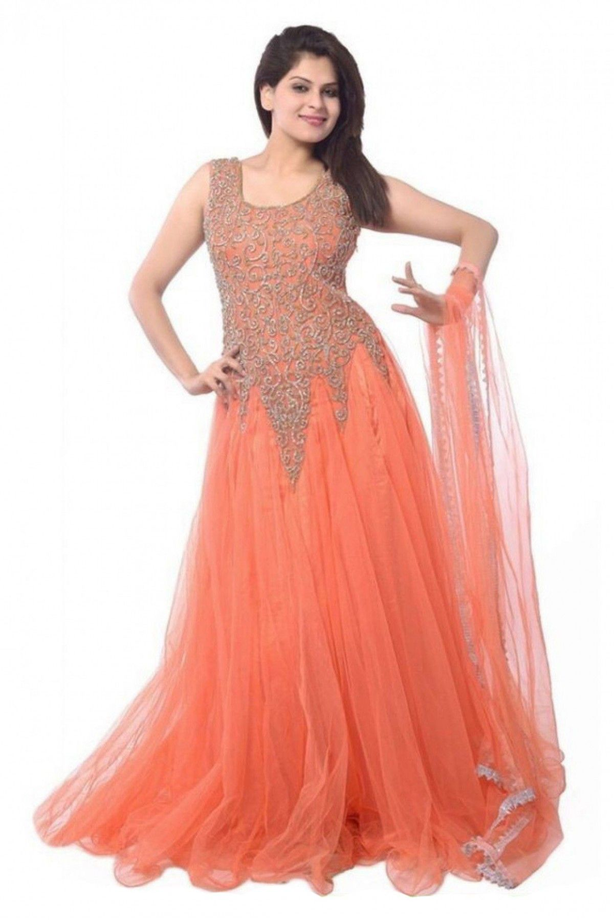 Net Party Wear Gown in Orange Colour | Gowns | Pinterest | Party ...