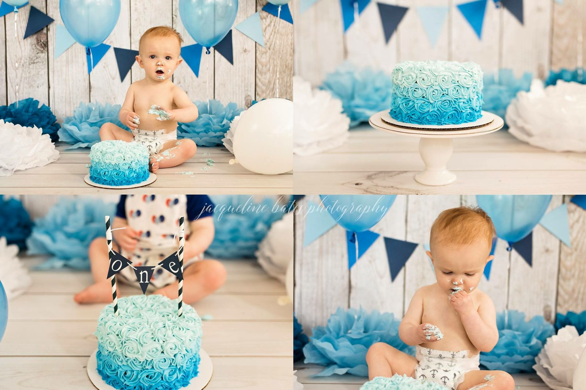 Baby Boy First Birthday Cake Smash Blue Ombre Rosette Cake With