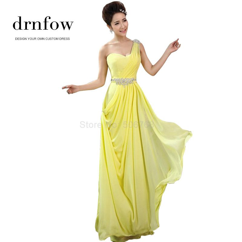 Find More Bridesmaid Dresses Information about 2015 new arrival one shoulder yellow long bridesmaid dresses for women fashion design with crystal decoration a line gown,High Quality design mobile phone case,China designer plus size wedding dresses Suppliers, Cheap dress up summer clothes from drnfow International Co.,Ltd on Aliexpress.com