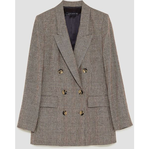 ddee6755 CHECKED DOUBLE BREASTED JACKET - BLAZERS-WOMAN   ZARA Spain ($110) ❤ liked  on Polyvore featuring outerwear, jackets, coats, checked jacket, brown  blazer ...