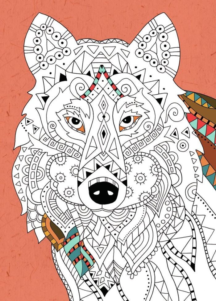 Felicity French Wolf Colouring Adult Colouring
