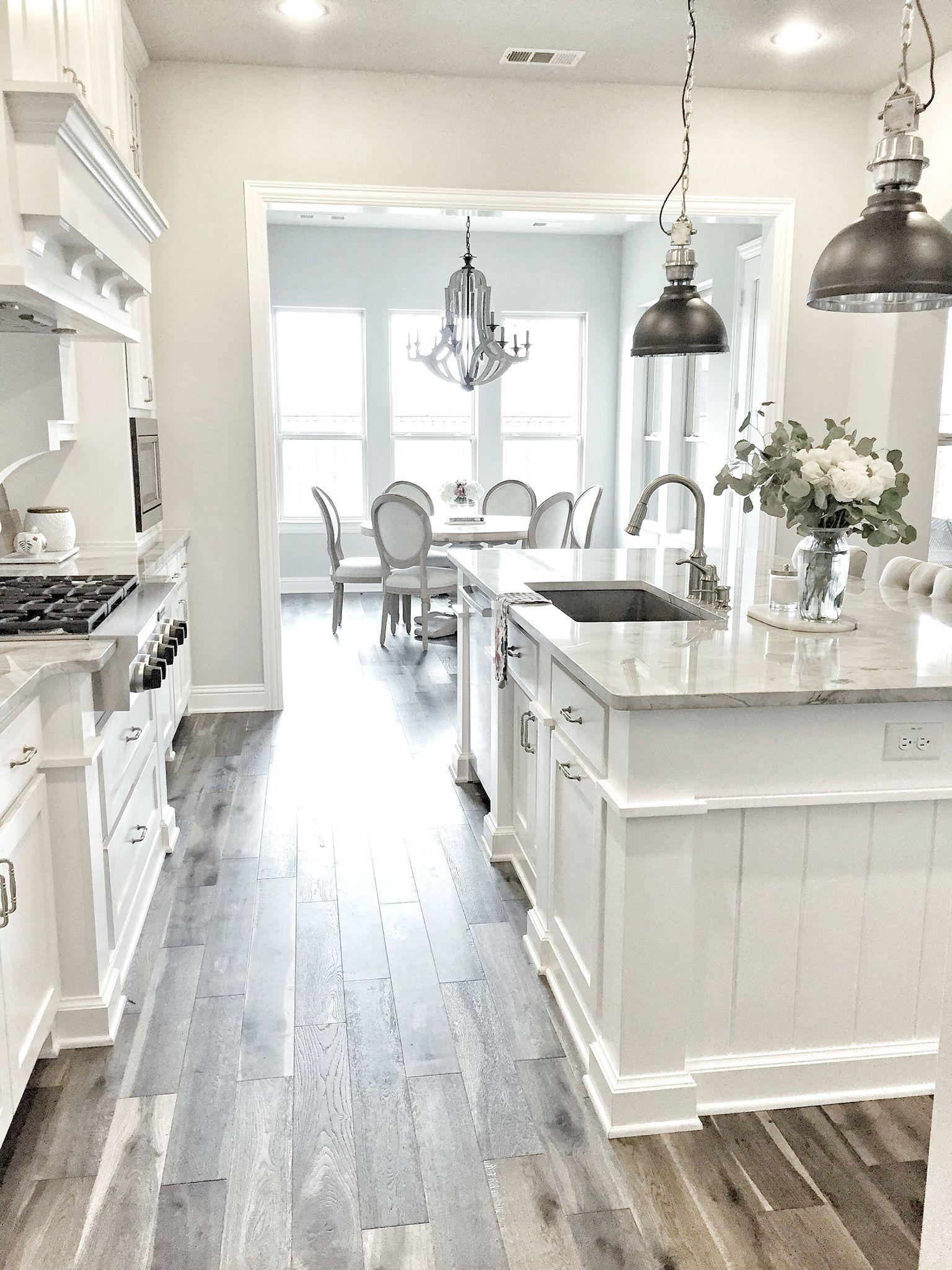 Fresh Farmhouse Kitchen Quartz Gray and white kitchen