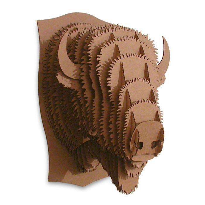 Billy Brown Medium Cardboard Safari Recycled Cardboard Animal Taxidermy Bison Trophy Head