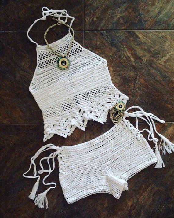 Beachwear del ganchillo tapa del halter Festival ropa tapa | Crop ...
