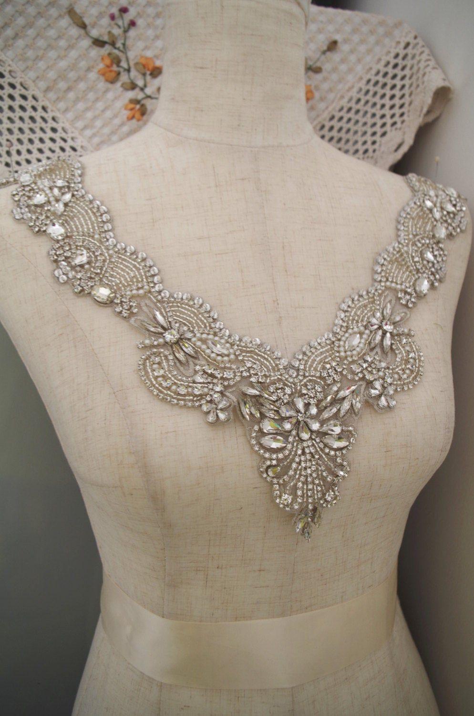 Rhinestone bridal neckline applique for bridal dress, rhinestone bead applique collar for wedding dress, craft bridal gown supplies #dollunderware
