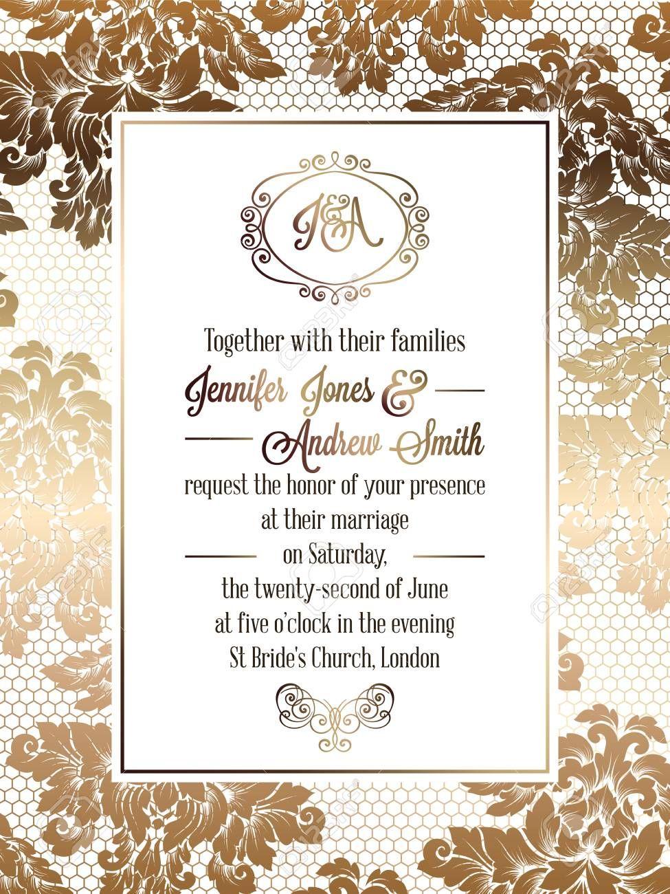 Vintage Baroque Style Wedding Invitation Card Template Elegant Pertaining To Ch Wedding Invitation Templates Wedding Invitation Design Marriage Invitations
