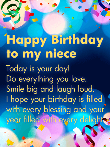 Today is your day happy birthday wishes card for niece birthday happy birthday wishes card for niece bookmarktalkfo Choice Image