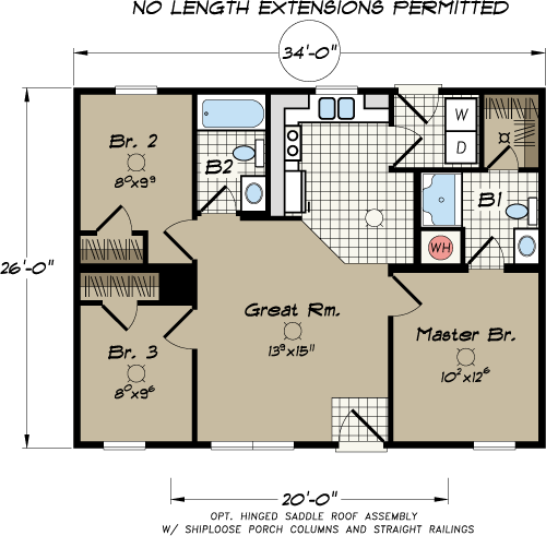 Three Bedroom Mobile Home Floor Plans: Champion Manufactured Home