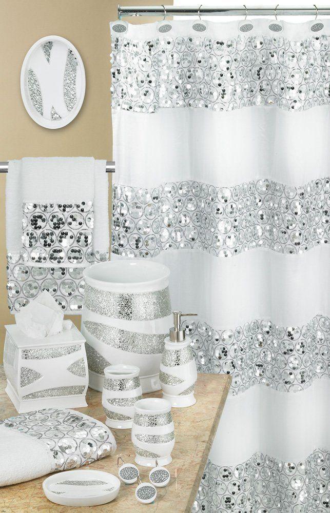 Popular Bath 838909 Sinatra Shower Curtain White Ebay Banyo