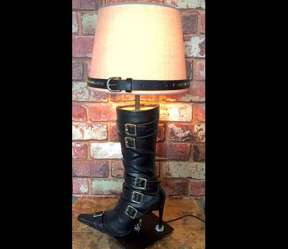 High Heel Black Boot Lamp With Belt Shade My Lamps Are Homemade And Come With A Shade The Energy Saving Devices Faux Leather Boots Black High Heel Boots