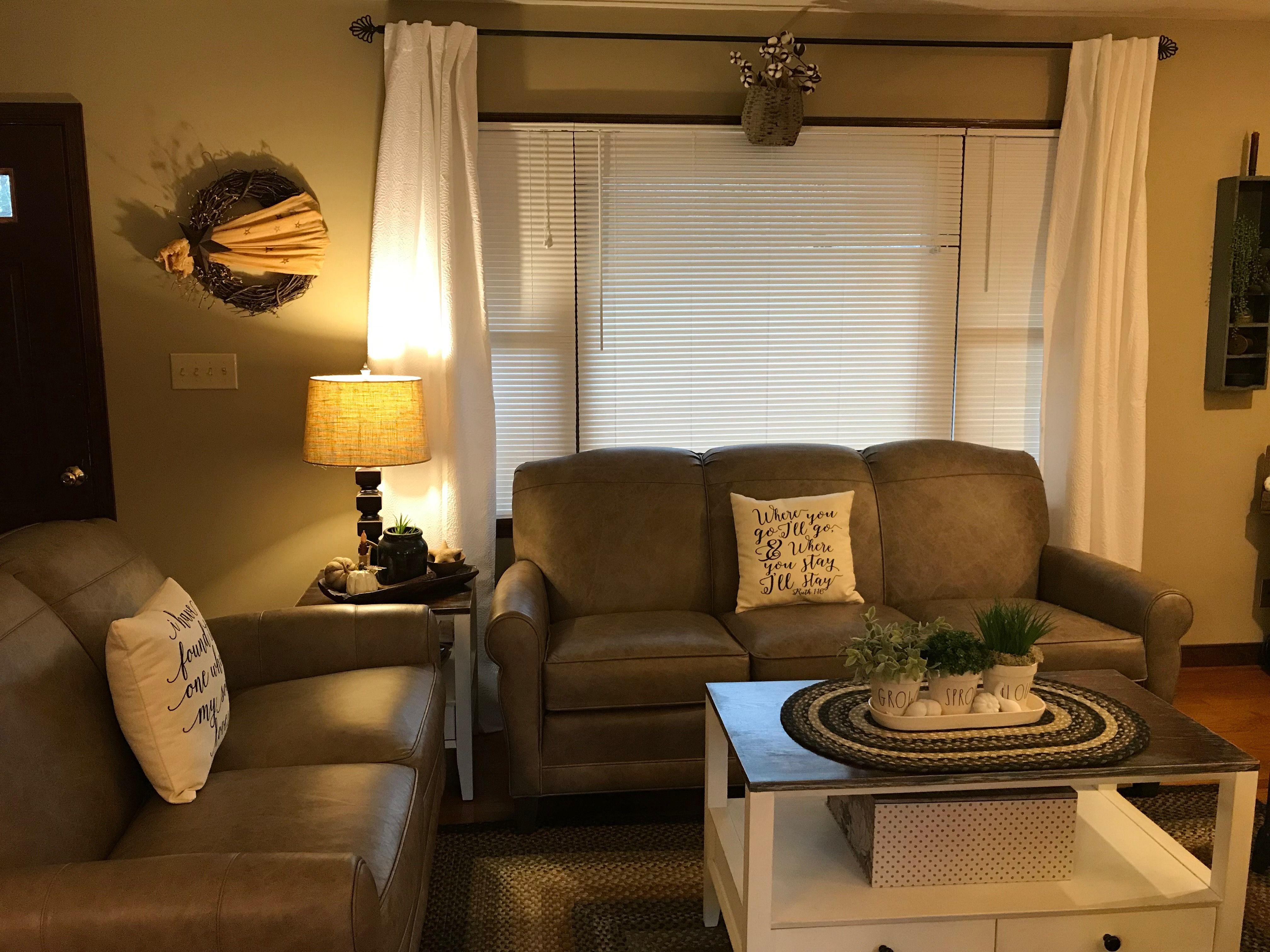 Farmhouse curtains living room white curtains leather sofa