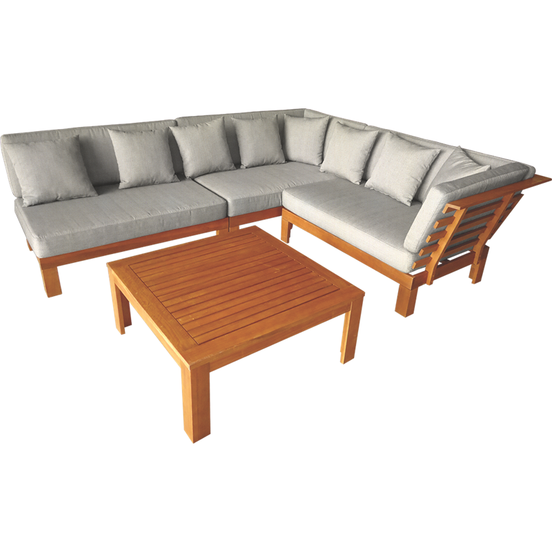Mimosa 4 Piece Coogee Timber Corner Lounge Setting With