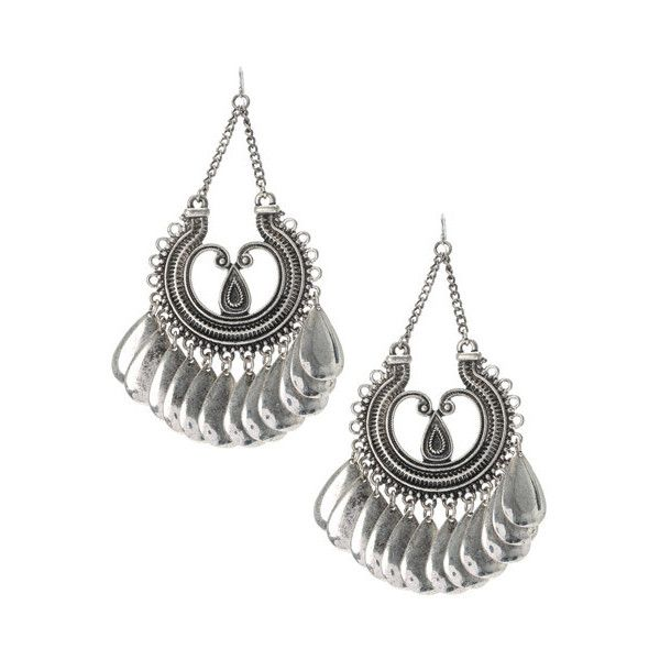 Antique Silver Oversized Chandelier Earrings 15 Liked On Polyvore Featuring Jewelry