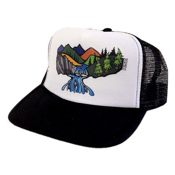 Cascade Falls Trucker Hat - Black White - Waterfall Design. Gorras De  CamioneroCascadasCascade FallsWaterfall Design f98054b2330e