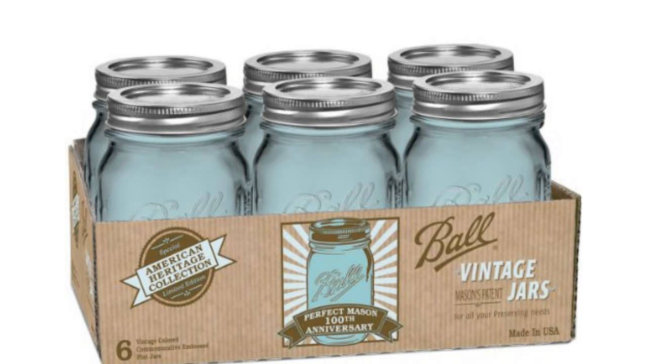 Ball Jar Heritage Collection Pint Jars with Lids and Bands, Blue ...