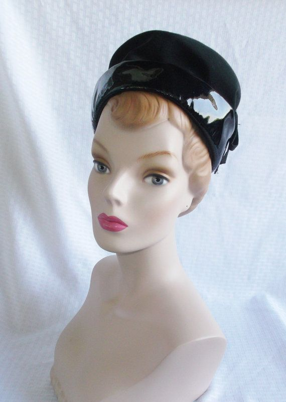 Clearance 1960's Vintage Black Patent Leather Mod Hat