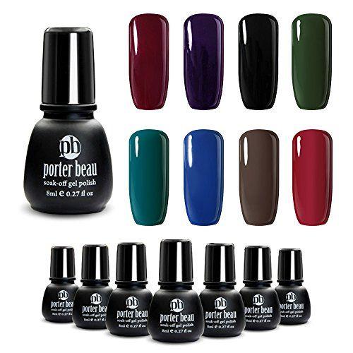 Porter Beau Multi Color 8 Dark Colors Soak Off Uv Led Lamp Gel Nail Polish Set Minis Collection Natural Organic Resin Hypoallerg Purple Nail Art Nail Polish Gel Nail Polish Set