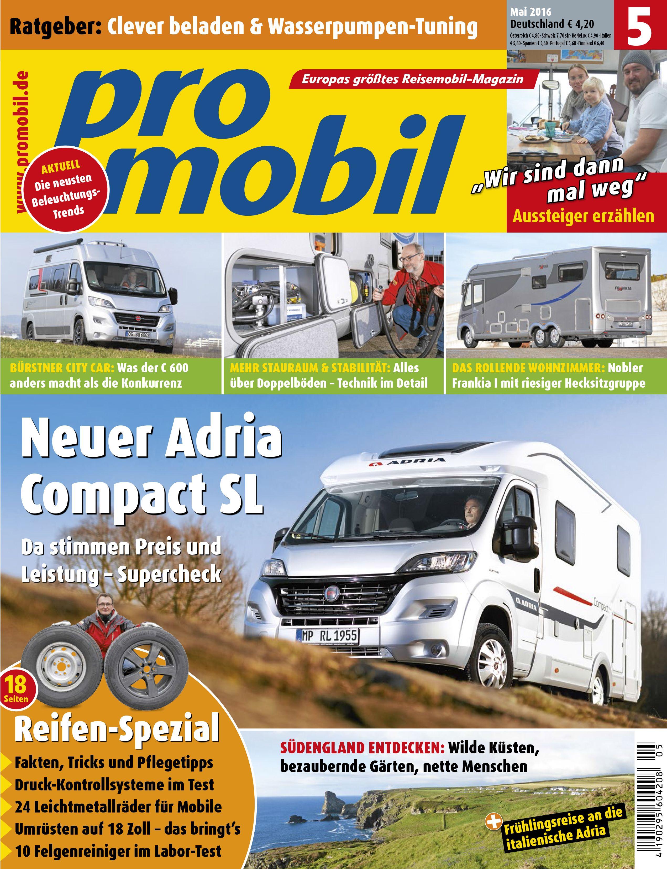heft 5 2016 neuer adria compact sl b rstner city car. Black Bedroom Furniture Sets. Home Design Ideas