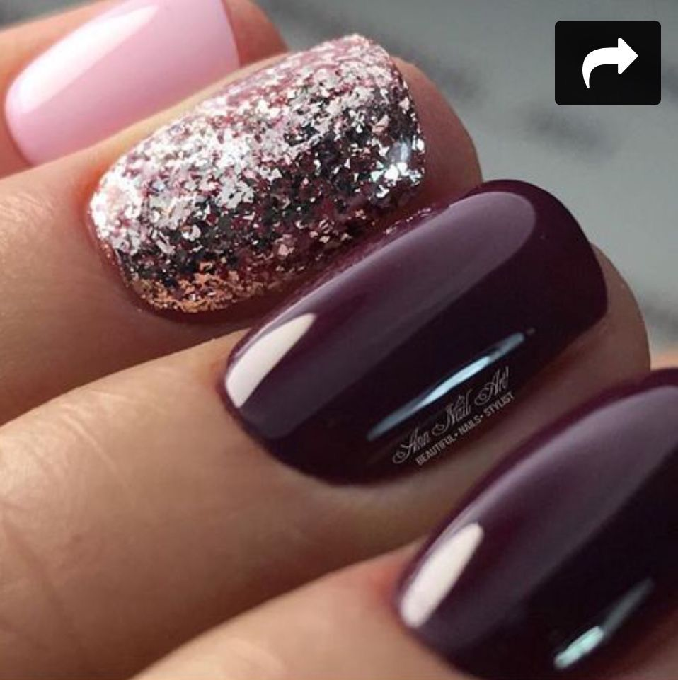 Okay So The Glitter Bridges These Two Colors Together Gel Nails Pink Nails Cute Nails