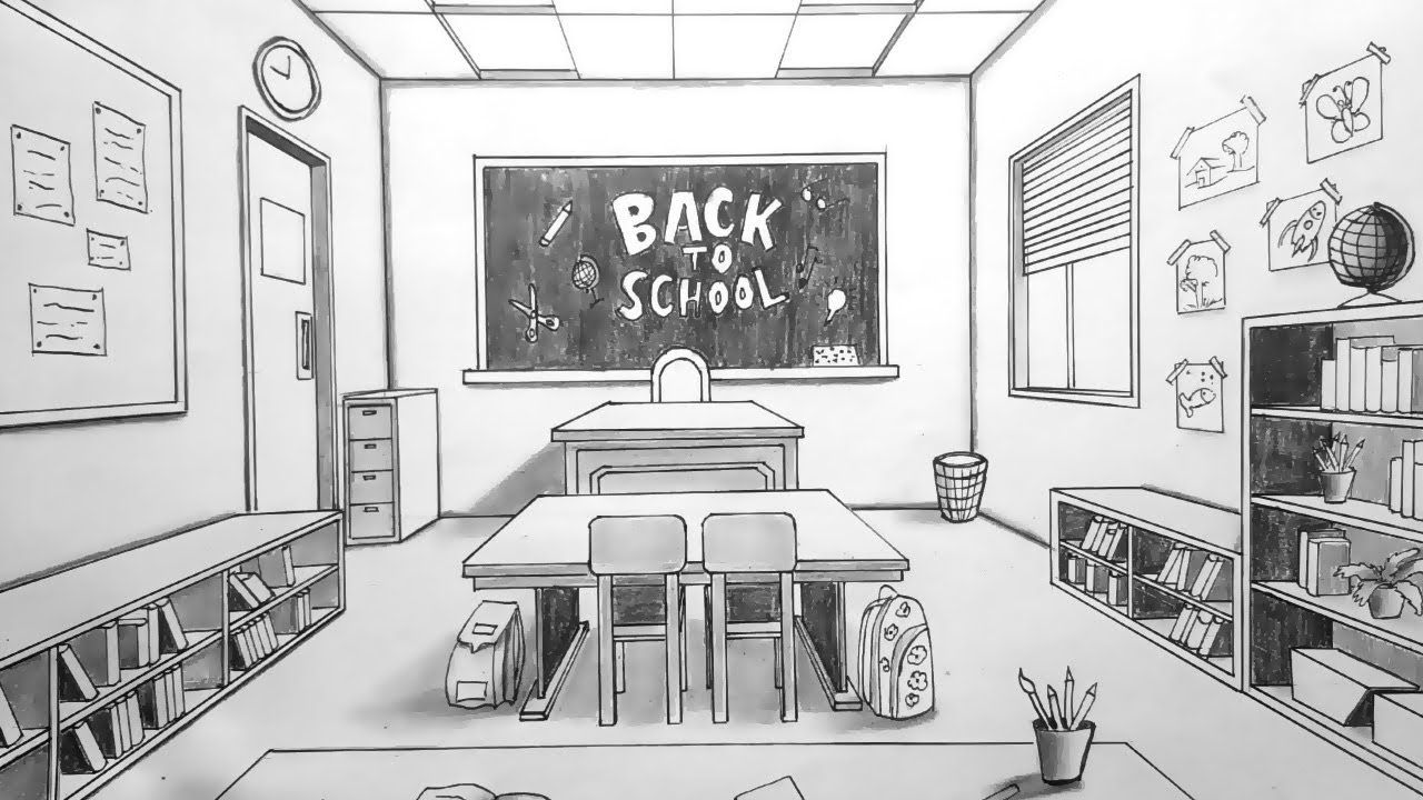 Drawing In One Point Perspective Kids Classroom Timelapse