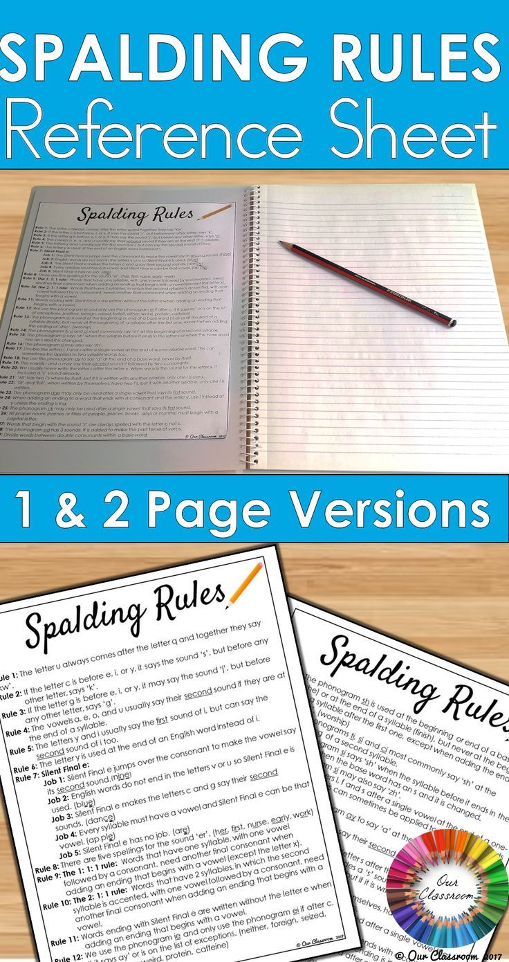 Spalding Rules Reference Sheet Elementary School Resources Teaching Homeschool Phonics Rules [ 1390 x 736 Pixel ]