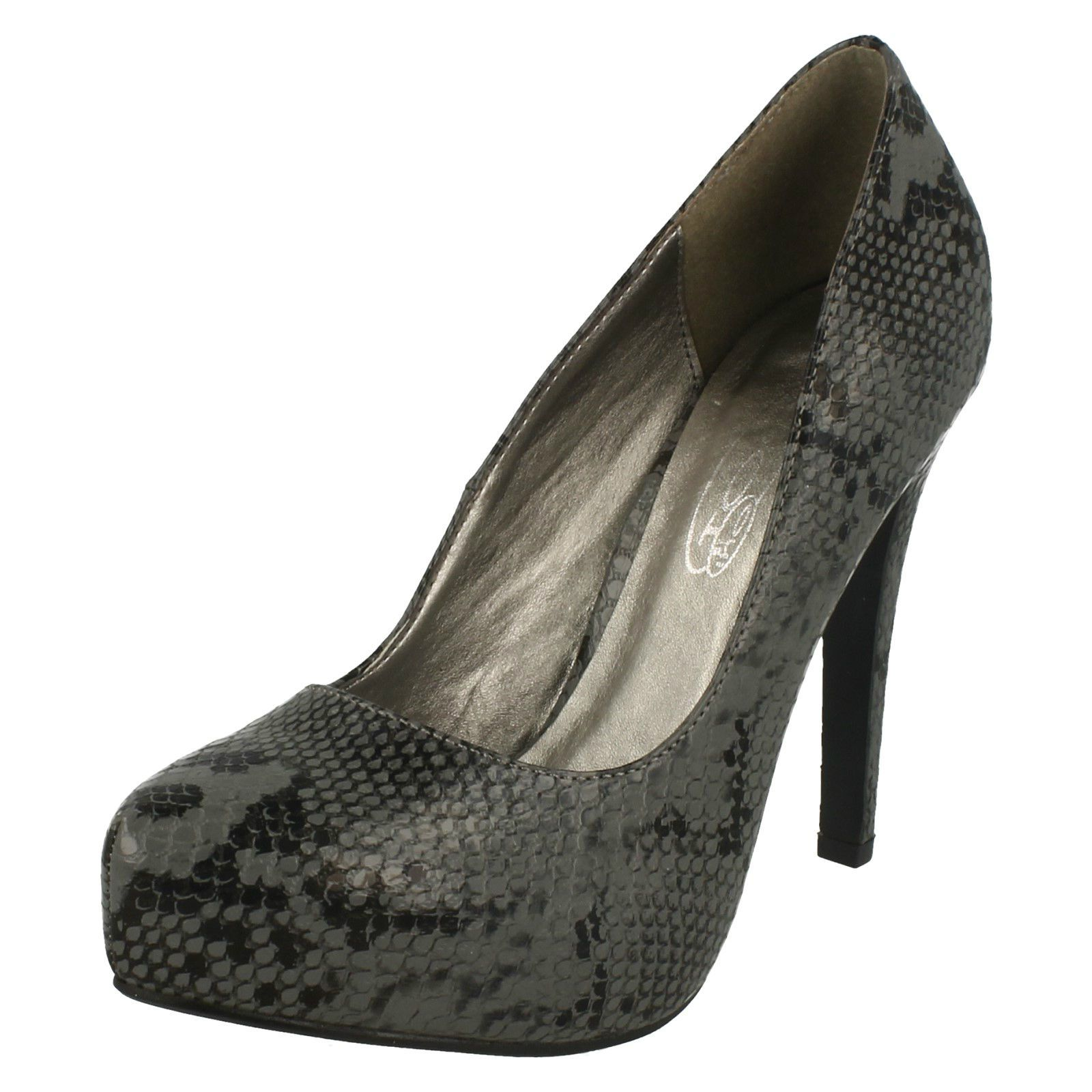 """Ladies Spot On Black Snake Pu Court Shoes With 4.75"""" Heel Style F9745"""