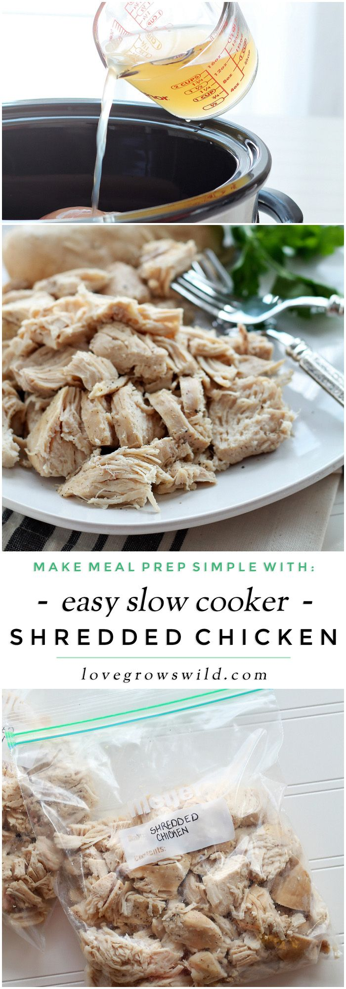Slow Cooker Shredded Chicken - Love Grows Wild