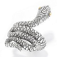 140-753 - Artisan Silver by Samuel B. 18K Gold Accented Textured Reptile Wraparound Ring