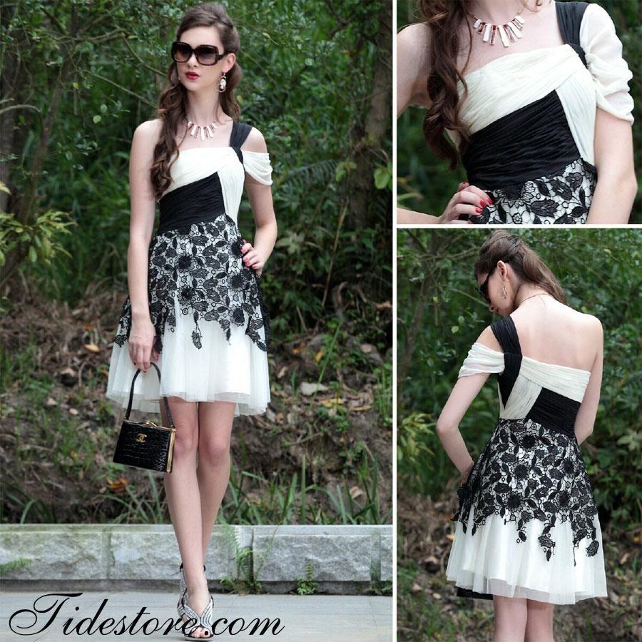 Fantastic oneshoulder kneelength prom homecoming dress dresses
