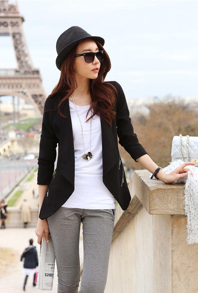 women fashion - Jacket/Coat - Thin Coat - Women's Cute Black Coat - 1268022S06 - |Asia Asian Fashion Wholesale#coat