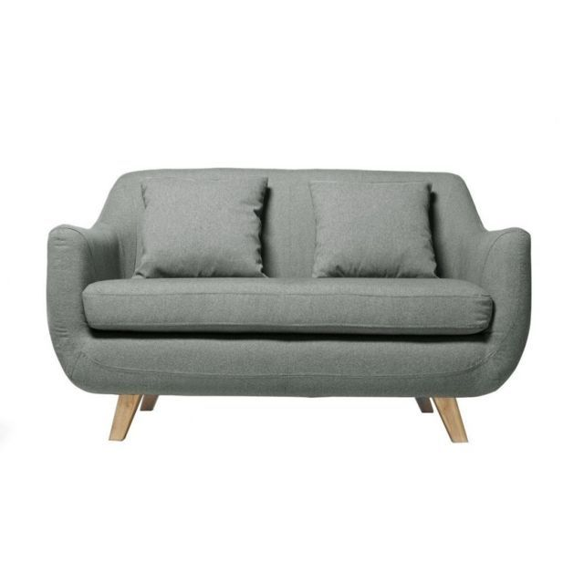 MILIBOO Canapé design scandinave 2 places gris SKANDI