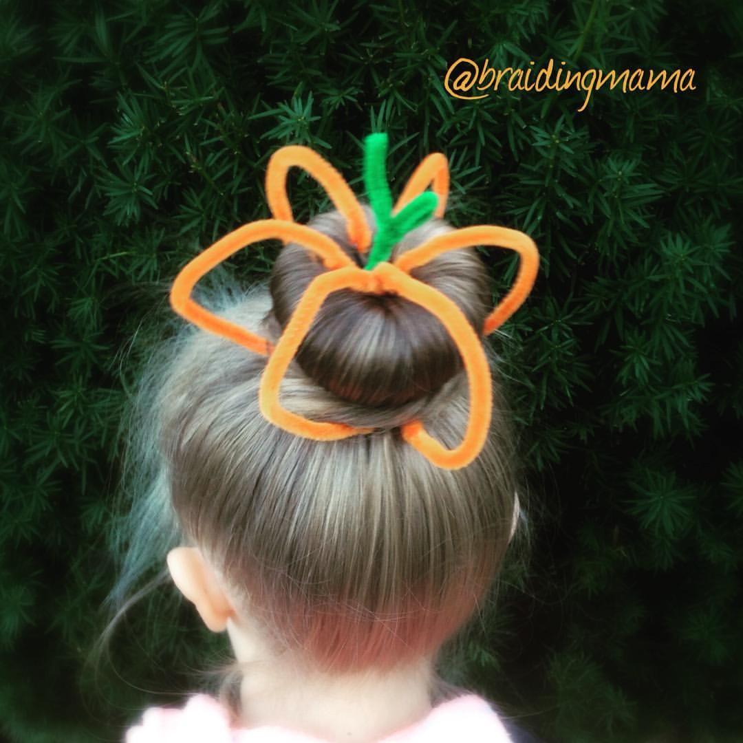 Linda Phillips On Instagram Fun Bun 3 Pumpkin Bun Crazy Hair Crazy Hair Days Halloween Hair