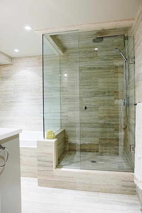 18 Modern Glass House Exterior Designs: Amazing Tile Shower #bathroom Tiles, Shower, Vanity