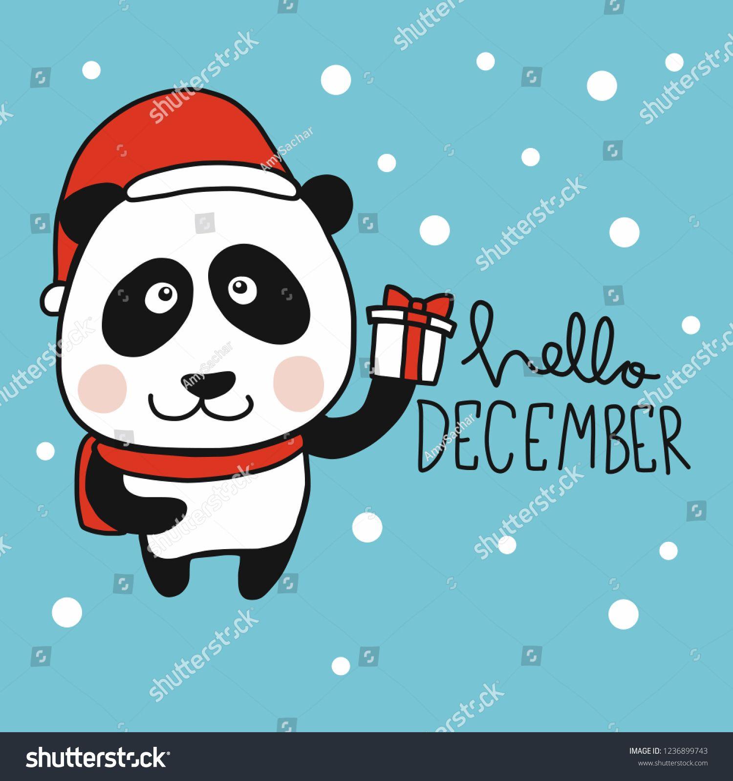 Image vectorielle de stock de Hello December Panda Santa Cartoon Vector 1236899743 #hellodecember