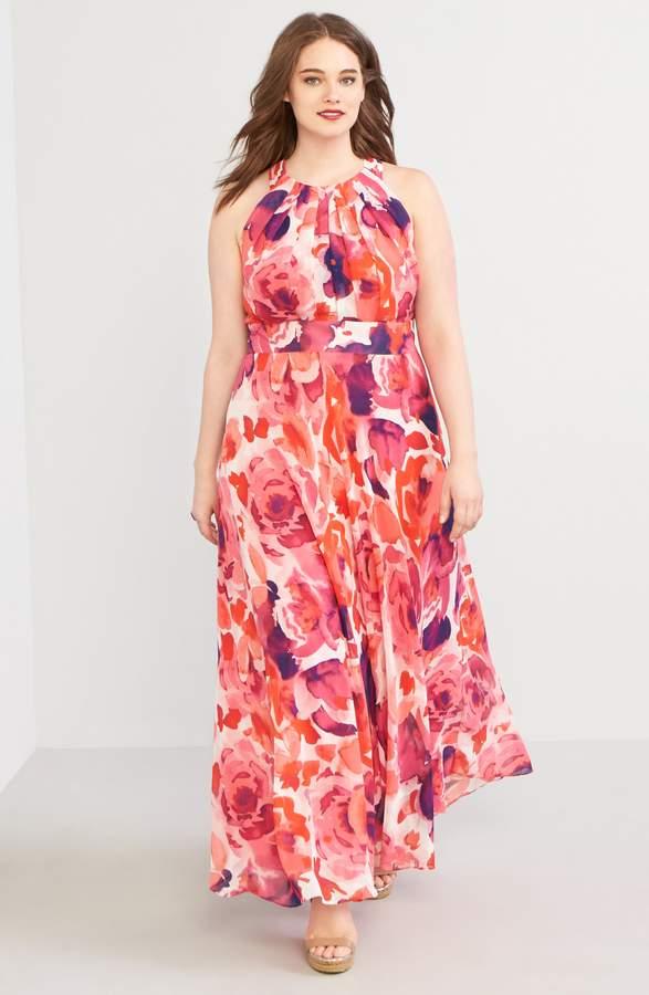 f92675bb97a Eliza J Floral Print Halter Maxi Dress in 2019