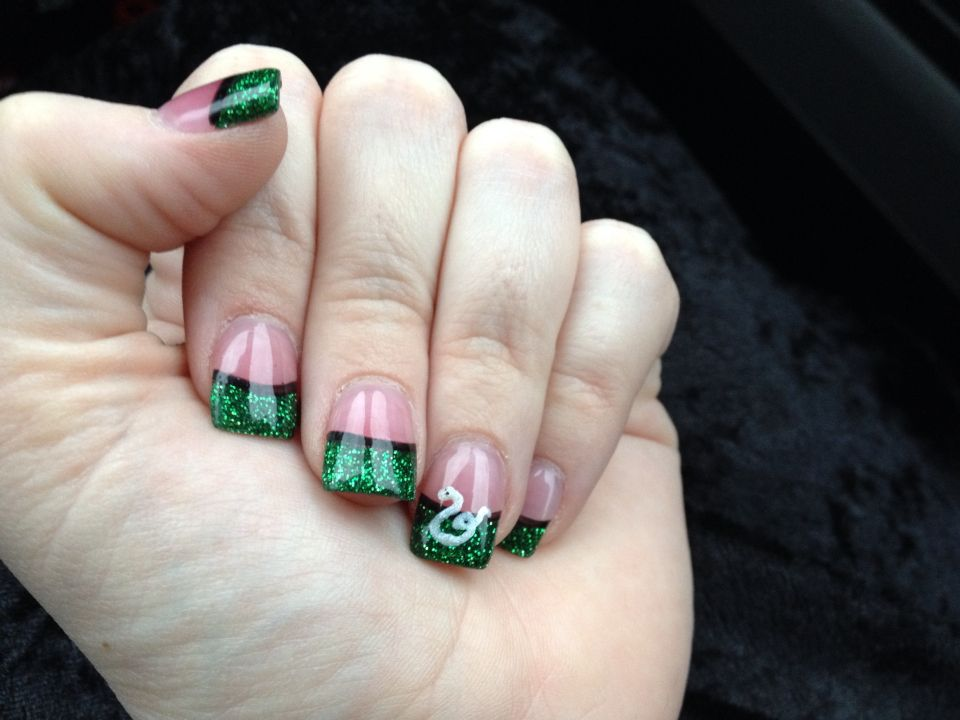 Slytherin nails! Green solar nails From Friendly Nails (and my ...