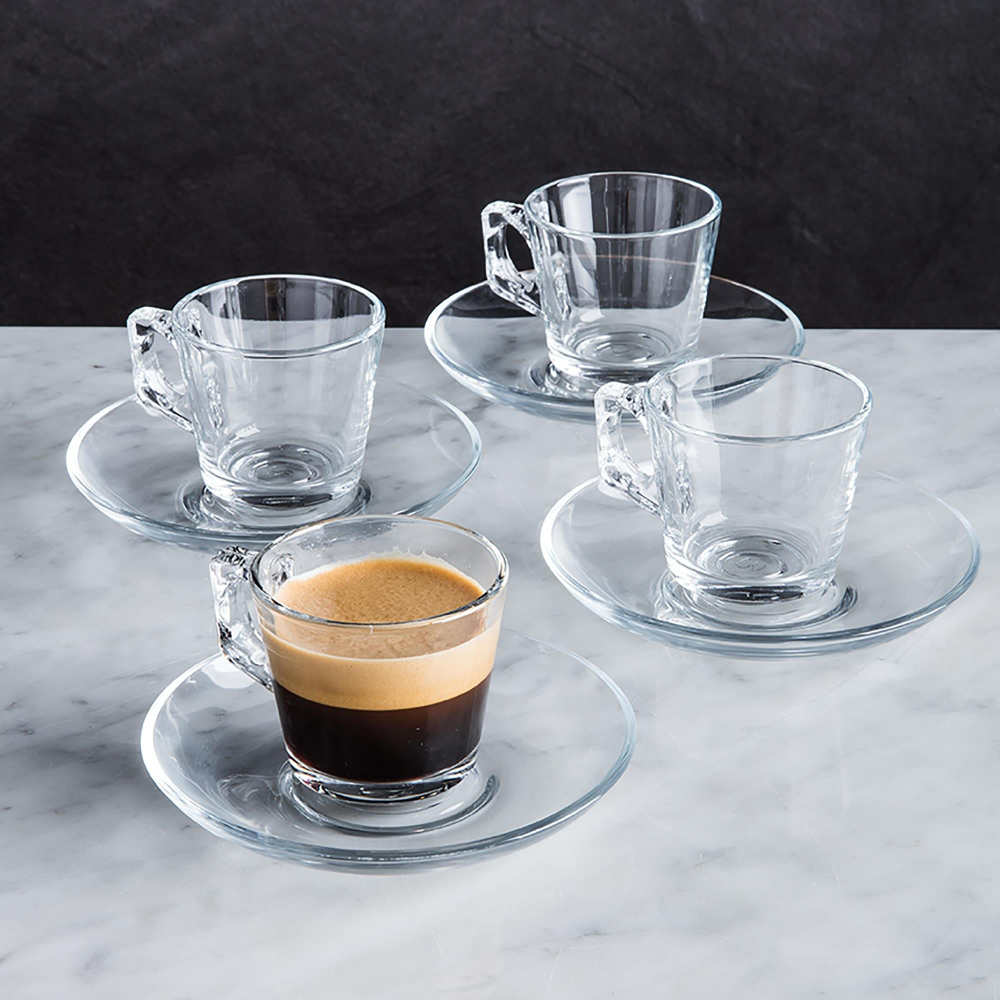 Enjoy A Perfect Cup Of Espresso In A Set Of Modern Colour Your Home Coffeebar Glass Espresso Cups D In 2020 Modern Cups And Glassware Espresso Cups Cup And Saucer Set