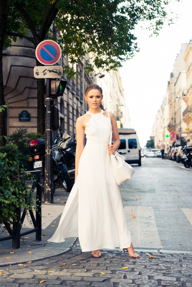 white maxidress with heels