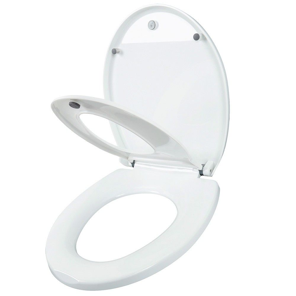 Round Adult Toilet Seat With Child Potty Training Cover White