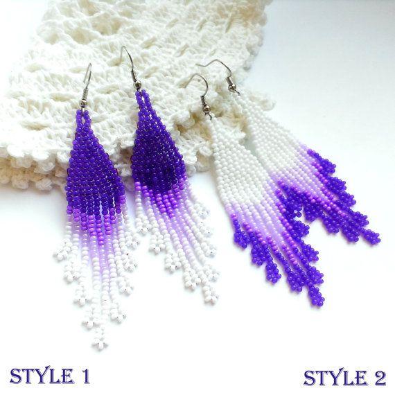 Beaded earrings White earrings Violet earrings Dangle by Galiga