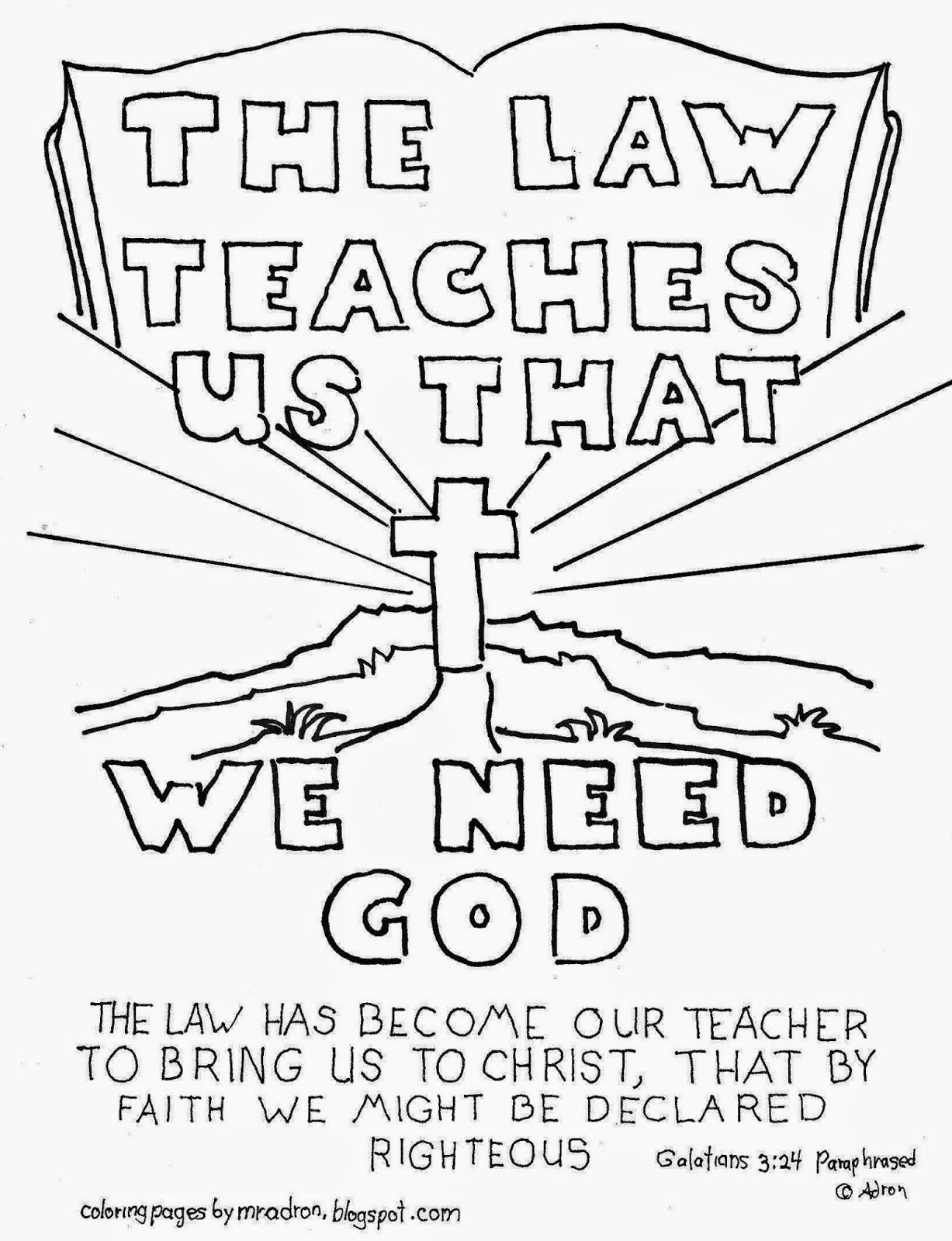 The Law teaches us, a free coloring page from my blog: http ...