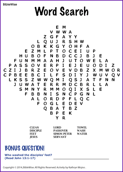 Word Search (Jesus Wash Feet) - Kids Korner - BibleWise | Visual ...
