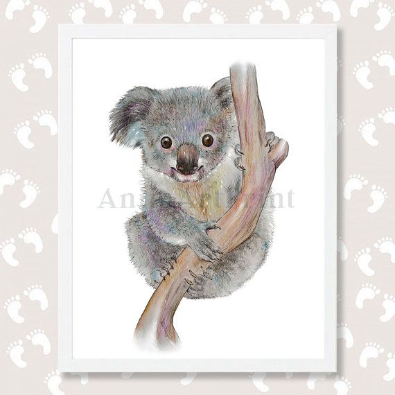 Koala Print Koala Bear Art Koala Watercolor Painting Nursery Decor Koala Printable Woodland Animals Instant Download Baby Animal Prints