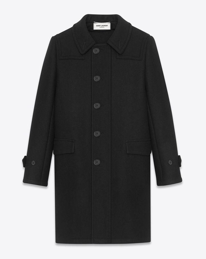 bc69903fbd1 Saint Laurent Paris Caban Duffle Coat in Black Wool | Dress | Duffle ...