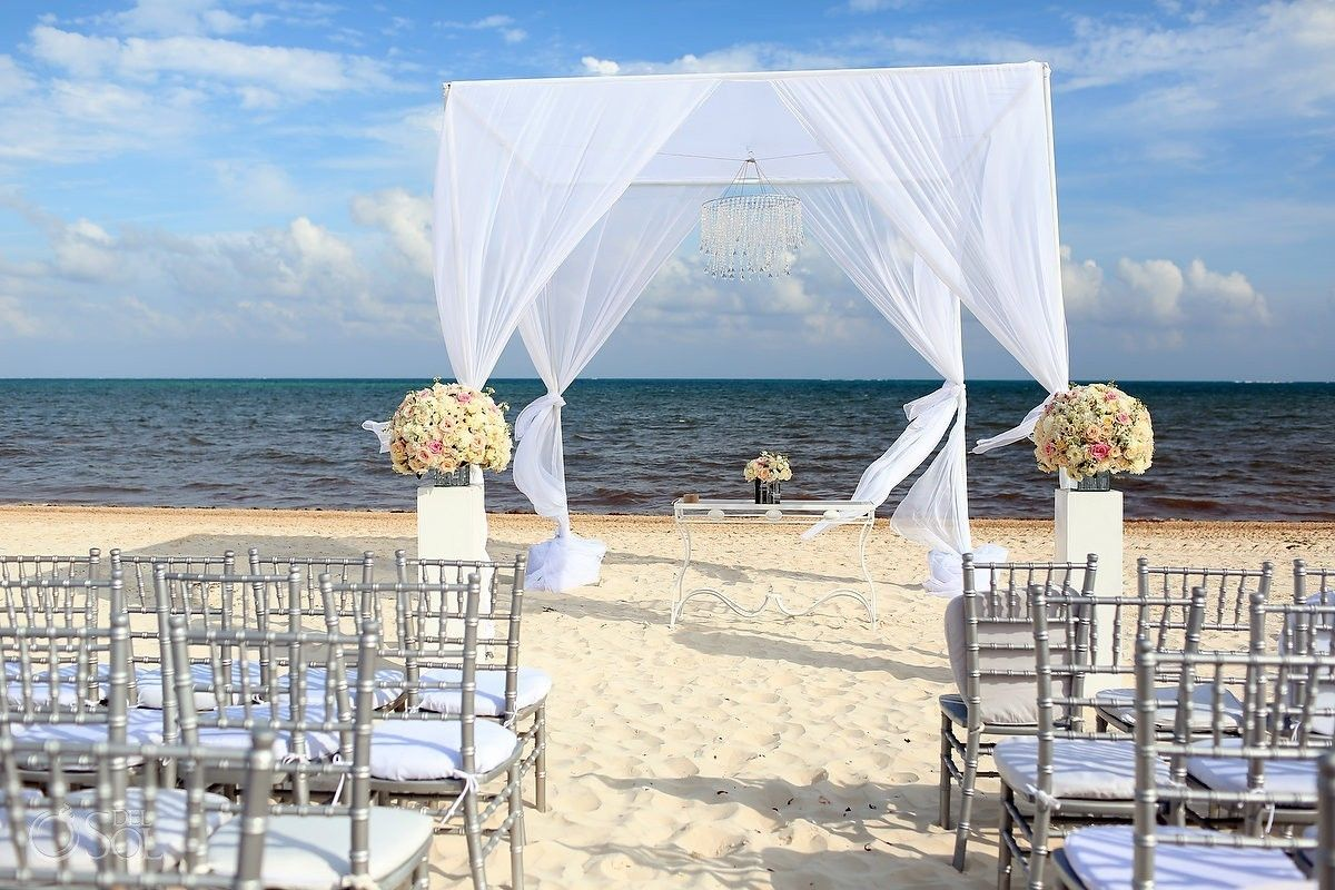 Cancun Moon Palace Stylish Beach Wedding Ceremony Inspiration