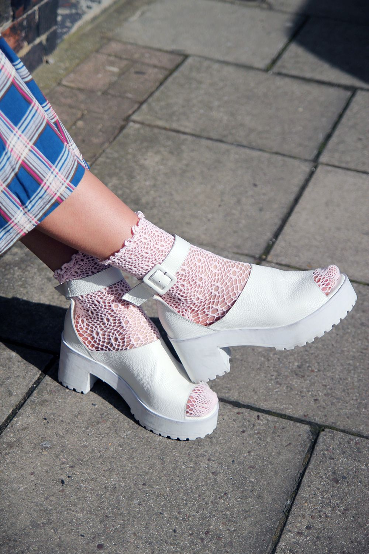 Leather Chunky Heel Sandal White | Socks and sandals, Women