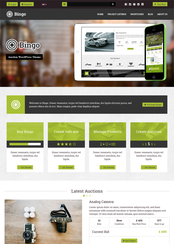 This Wordpress Auction Theme Includes A Drag And Drop Homepage Builder A Woocommerce Auction Plugin Wpml Support With Images Best Wordpress Themes Wordpress Theme Theme